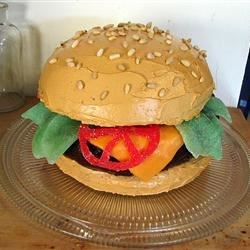 Hamburger Cake Recipe - This is a wonderful cake that looks just like a giant hamburger. I made one for my nephew and it was a delightful hit.