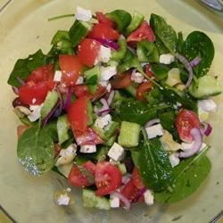 Greek salad with 'Absolutely Fabulous Greek/House Dressing'