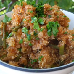 Spanish-Style Quinoa Recipe - This flavorful quinoa dish is a delicious and higher protein alternative to Spanish rice.  This is a nice side dish to a Mexican meal, or it can be used as a filling in burritos. I like my food on the less-salty side, so you may have to adjust the seasonings to your taste.