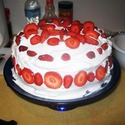 Strawberry lemon cake, with strawberry filling.
