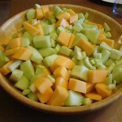 Summer Medley Salad Recipe - A mellow, refreshing salad of cucumbers, cantaloupe, and honeydew.