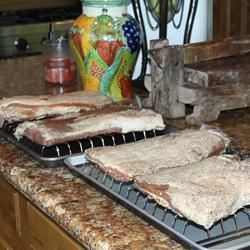 Bacon after curing, before smoking