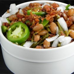 Mexican Pintos with Cactus Recipe - An honest Mexican recipe for pinto beans using bacon, chiles and cactus.