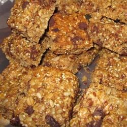 Bird Seed Energy Bars Recipe - Rolled oats, wheat germ, a variety of seeds including sunflower, flax, and sesame seeds, plus chocolate chips, honey, and brown sugar make a crunchy, energy-packed bar that's perfect as a take-along snack on the ski slope.