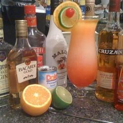 Texas Hurricane Recipe - This beverage is known for its 'sneak up and blow you away' power. If you can walk after two of these...well...you just think you can.  Everything is bigger and better in Texas -- just try this and see.