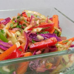 Colorful Coleslaw with a Kick Recipe - Red and green cabbage are mixed with colorful vegetables, and tossed with a spicy lime dressing. Brightens up any picnic or backyard bbq and goes with everything you throw on the grill.