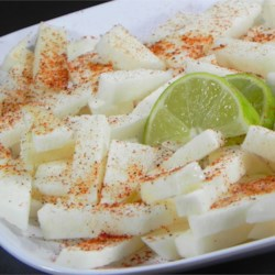 Jicama Appetizer Recipe - All you need for this refreshing treat is a jicama, lime, and chili powder.