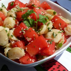 Watermelon and Sesame Seed Salad Recipe - This salad with watermelon, water chestnuts, and sesame seeds is so refreshing and tastes quite differently to what you expect.