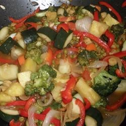 Stir-Fried Sweet and Sour Vegetables Recipe - The sauce in this recipe is good for whatever combination of vegetables you like to make a sweet-and-sour stir-fry dish.