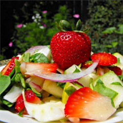 Spring Strawberry Spinach Salad Recipe - This fresh strawberry and spinach salad is tossed with a sweet poppy seed dressing.
