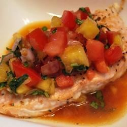 Salmon with Pineapple Tomato Salsa Recipe - A very colorful, refreshing summer salmon dish that is full of flavor and a great way to use your garden tomatoes.