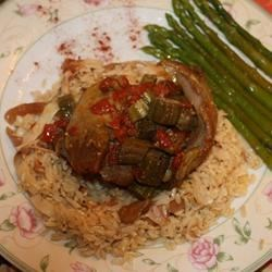 Lamb and Okra Stew Recipe - Old Middle Eastern family recipe, one of my favorites. A mildly spiced lamb stew is served over rice pilaf in this homey main dish.