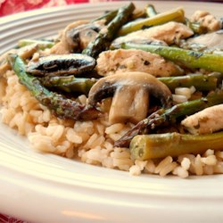 Chicken, Asparagus, and Mushroom Skillet Recipe - This light and fresh chicken dish with asparagus, mushrooms, and boneless chicken breasts is somewhere between a skillet and a stir-fry. Serve with rice or pasta and a nice glass of white wine.