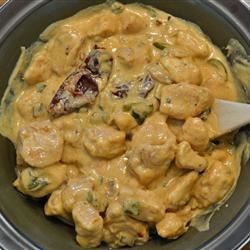 Chipotle Cream Chicken Recipe - Tender chunks of chicken breast simmer in a savory, creamy sauce with a smoky chipotle kick. This is great with a side of Mexican rice.