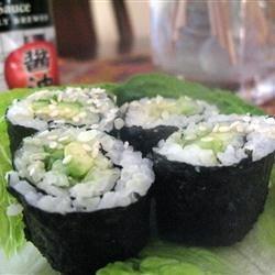 Sushi Roll Recipe - Sushi can be filled with any ingredients you choose. Try smoked salmon instead of imitation crabmeat. Serve with teriyaki sauce and wasabi.