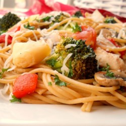 Pasta, Chicken and Artichokes Recipe - A colorful complement of al dente vegetables - red bell pepper, artichokes, broccoli, tomato and mushrooms - are tossed with sauteed chicken, pasta and a dash of Parmesan.