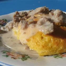 Restaurant Style Sausage Gravy and Biscuits Recipe - Here's a very quick and easy version of the popular Southern-style breakfast that anyone can make.