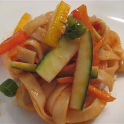 Shanghai Noodle Salad Recipe - This Asian-inspired pasta salad, made with thick Chinese noodles, is seasoned with toasted sesame seeds and has a tangy sweet-and-sour dressing designed to cool you off on a hot day. Red bell peppers, carrots, and zucchini give it bright colors.