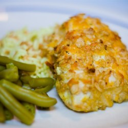 Cheddar Baked Chicken Recipe - A crunchy, cheesy coating provides an exciting blend of flavors for baked chicken.