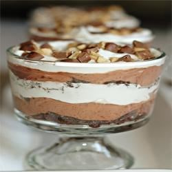 Chocolate Trifle Recipe and Video - Trifle with layers of brownies, chocolate pudding and whipped topping chilled to perfection.