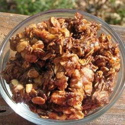 Easy-Peezy Caramel Granola Recipe - This is super easy to make and goes great with yogurt, ice cream, or just by itself! It's much sweeter than the classic honey granola.
