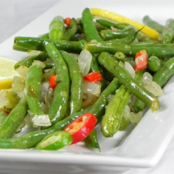 Spicy Green Beans Recipe - Green beans, shallots, and jalapeno combine into a delicious side dish I created with produce from our CSA.