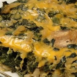 Easy Spinach Casserole Recipe - Chopped spinach and cream cheese are blended together and baked under a bread crumb crust in this easy-to-prepare side dish serving six.