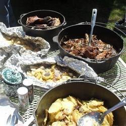 Potatoes & Onions, Steamed taters and veggies, Pork roast, & rabbit