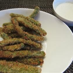 Crispy Green Beans with Horseradish-Wasabi Dip Recipe - Breaded and deep-fried, crispy green beans are a guaranteed hit when served with a zesty buttermilk ranch dressing that gets its kick from wasabi and horseradish.