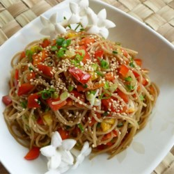 Sesame Noodle Salad Recipe and Video - Served chilled or warm, this noodle salad easily pairs with your favorite summertime foods.