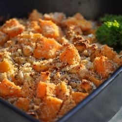 Butternut Squash Bake Recipe - This savory side dish or vegetarian main dish is made with butternut squash and accented with fresh thyme and blue cheese.