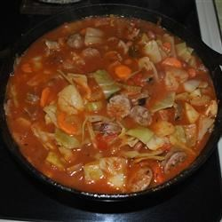 Cabbage and Smoked Sausage Soup Recipe - Even kids who don't care for vegetable soup may enjoy this one. Very good flavor. Sometimes I use crushed tomatoes with garlic, onion, or basil now that they're available. Turkey smoked sausage is great in this recipe!