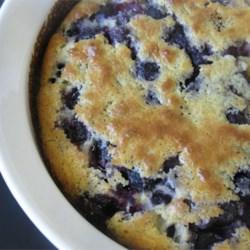 Blueberry Custard Recipe - A baked custard sweetened with honey and flecked with blueberries is sprinkled with nutmeg and confectioners' sugar and served warm or cold.