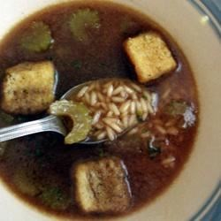 Simply Delicious Rice Soup Recipe - This is a very simple soup made with long grain rice and chopped celery cooked in beef broth.  Serve with a garnish of chopped parsley.