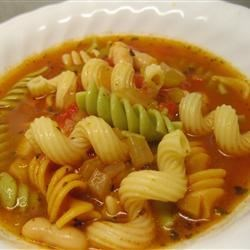 Pasta Fagioli Recipe and Video - A traditional Italian soup. Serve with a crisp salad and a hot loaf of garlic bread and you have a meal! Serve with grated Parmesan cheese on top.