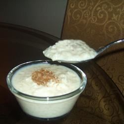 Rice Pudding V Recipe - This eggless, stovetop rice pudding has golden raisins and a hint of nutmeg.