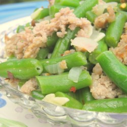 Awesome Green Beans Recipe - Spicy sausage, garlic and onions are what make these green beans awesome.