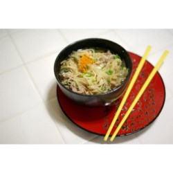 Long Soup Recipe - Thinly sliced pork, fresh ginger, green onions, and Chinese-style egg noodles transport you to the Orient as you dine on Long Soup.  It is quick and easy to prepare, and makes a great first course for an Asian-inspired meal.