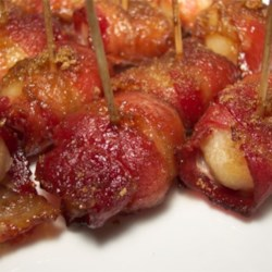 Water Chestnut Wraparounds Recipe - Water chestnuts, bacon, and a sweet-and-savory soy marinade make up these easy hot appetizers.