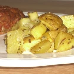 Special Spuds Recipe - Cubed potatoes are seasoned with garlic powder, dried onion, parsley, salt, and pepper before being baked to a tender crispiness for a great meal accompaniment.