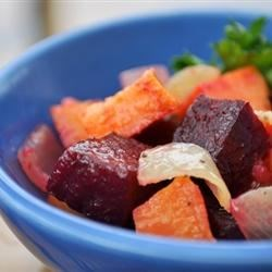 Roasted Beets 'n' Sweets Recipe and Video - Beets baked with sweet potatoes and onion make for a colorful, delicious fall or winter side dish.