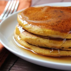 Pumpkin Pancakes Recipe - Ginger, cinnamon and allspice give this pumpkin pancake recipe just a hint of sweetness, making it the perfect fall breakfast.