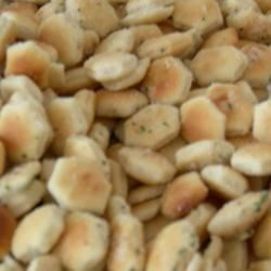 Ranch Oyster Crackers Recipe - Oyster crackers--notoriously dry and tasteless--come to life with a ranch-dressing-based marinade and 20 minutes in the oven.