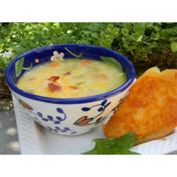 Corn Chowder - Fast and Great Recipe - This is a velvety and delicious corn chowder with potatoes and bacon. Two kinds of cheese are stirred in at the last minute, giving this soup an unforgettable flavor.