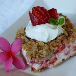 Frosty Strawberry Squares Recipe - A creamy frozen strawberry treat on a walnut crust!