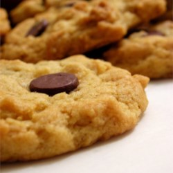Oatmeal Chocolate Chip Cookies IV  Recipe - This is a wonderful, melt-in-your-mouth, low-fat oatmeal chocolate chip cookie that your whole family will love!  My husband's favorite...I can never keep them in the cookie jar!