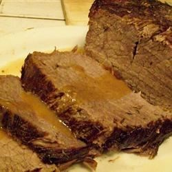 English Roast Beef Recipe - A delicious pot roast with a fabulous gravy seasoned with sage and mint. A delightful recipe for a Sunday dinner with friends.