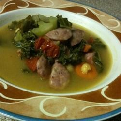 Lisa's Co-op Kale Soup Recipe - This simple soup requires chicken stock, kale, garbanzo beans, carrot, and onion.