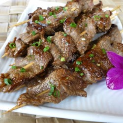 Asian Beef Skewers Recipe - Strips of flank steak are marinated overnight in a very flavorful mixture of hoisin sauce, soy sauce, ginger, sherry, barbeque sauce, green onions and garlic. Skewer, grill and serve as an entree or appetizer.