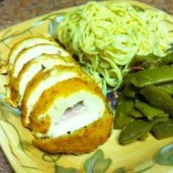 Barber Food Chicken Cordon Bleu, Parmesan Noodles and Green Beans - Photo by ShawnaRae